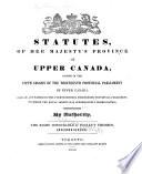The Statutes of Upper Canada