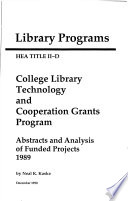 Hea Title Ii D College Library Technology And Cooperation Grants Program Book PDF