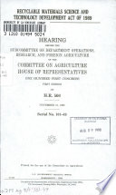 Recyclable Materials Science and Technology Development Act of 1989