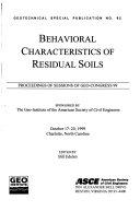 Behavioral Characteristics of Residual Soils