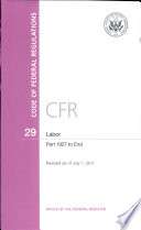 Code Of Federal Regulations Title 29 Labor Pt 1927 End Revised As Of July 1 2011