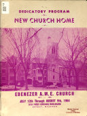 Dedicatory Program for New Church Home of Ebenezer A  M  E  Church  1871 1964