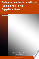 Advances in Non Drug Research and Application  2011 Edition Book