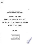 Report of the Army Delegation Visit to the People s Republic of China  April 7 14  1986