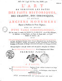L'art de vérifier les dates des faits historiques, des chartes, des chroniques et autres anciens monumens, depuis la naissance de Notre-Seigneur, par le moyen d'une table chronologique, avec un calendrier perpétuel