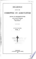 Hearings Before the Committee on Agriculture