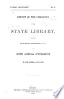 Report Of The Librarian Of The State Library Of Massachusetts