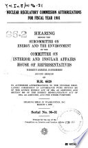 Nuclear Regulatory Commission Authorizations for Fiscal Year 1981