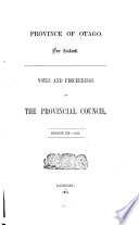 Votes And Proceedings Of The Provincial Council
