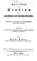 Anleitung zum studien der griechsichen und roemischen classiker ...