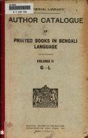 Author Catalogue of Printed Books in Bengali Language