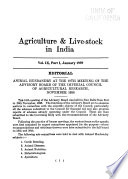 Agriculture and Live-stock in India