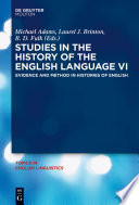 Studies In The History Of The English Language Vi