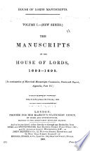 The Manuscripts of the House of Lords 1678[-1693] ..