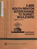 I 405 South Renton Interchange to Sunset Blvd  Transit and Carpool Improvements Project  King County