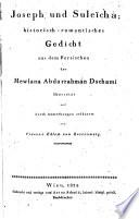 Joseph Und Suleïcha Historisch Romantisches Gedicht Aus Dem