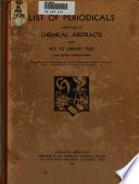 Chemical Abstracts. List of Periodicals Abstracted