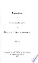 Transactions of the Society of Biblical Arch  ology Book