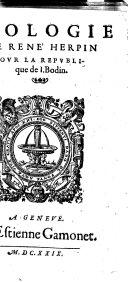 Apologie de René Herpin pour La Republique de I. Bodin