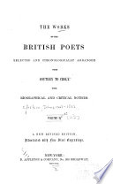 The Works of the British Poets  Selected and Chronologically Arranged     From Southey to Croly