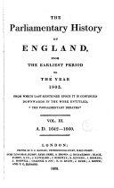 Cobbett's Parliamentary History of England: 1642-1660