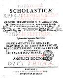 THEOLOGIAE SCHOLASTICAE-