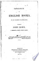 Catalogue of English Books  in All Classes of Literature on Sale by John Bohn