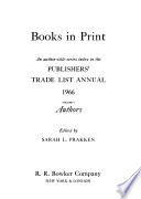 The Publishers' Trade List Annual  , Volume 1