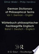 German Dictionary of Philosophical Terms: German-English