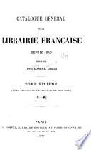 Catalogue général de la librairie française: 1866-1875
