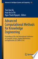 Advanced Computational Methods For Knowledge Engineering Book PDF