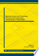 Materials Science And Processing Environmental Engineering And Information Technologies Book PDF