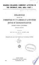 Communist Activities Hearings Before The Committee On Un American Activities House Of Representatives Eighty First Congress First Second Session S
