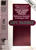 XXth International CFR Seminar on Social Change and Family Policies  Melbourne  Australia  19 24 August  1984 Book PDF
