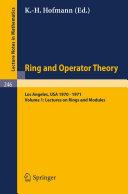 Tulane University Ring and Operator Theory Year, 1970-1971: ...