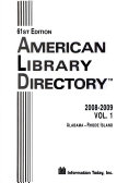 American Library Directory 2008 2009 2 Vol Set