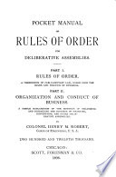 Pocket Manual of Rules of Order for Deliberative Assemblies