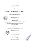 Considerations On The Hindoo Law As It Is Current In Bengal