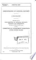 Administration of National Security Book