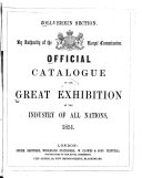 Official Catalogue of the Great Exhibition of the Industry of All Nations  1851