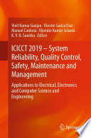 ICICCT 2019 – System Reliability, Quality Control, Safety, Maintenance and Management