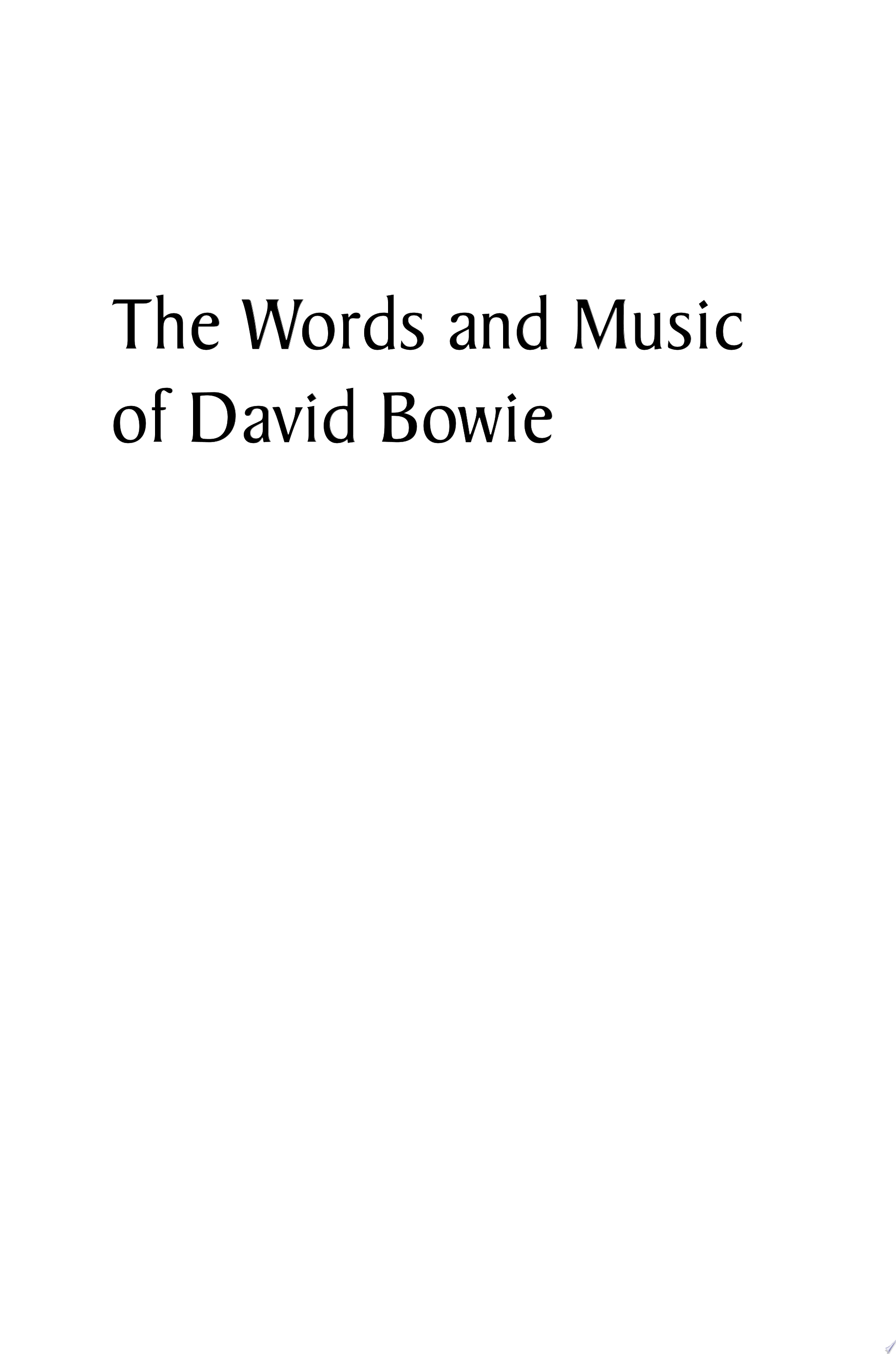 The Words and Music of David Bowie