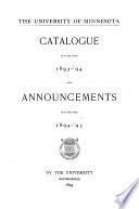 Catalogue     and Announcements Book