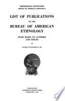 List Of Publications Of The American Bureau Of Ethnology