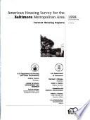 American Housing Survey for the Baltimore Metropolitan Area  1998