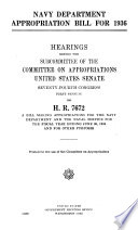 Navy Department Appropriation Bill For 1936