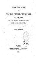 Programme du cour de Droit Civil français fait à l'école de Paris