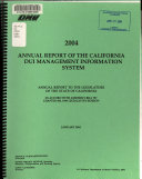 Annual Report of the California DUI Management Information System