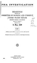 Hearings  Reports and Prints of the Senate Committee on Banking and Currency
