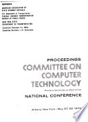 Proceedings Committee On Computer Technology National Conference Albany New York May 27 28 1970